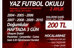 Yaz Futbol Okuluna Kayıtlar Devam Ediyor